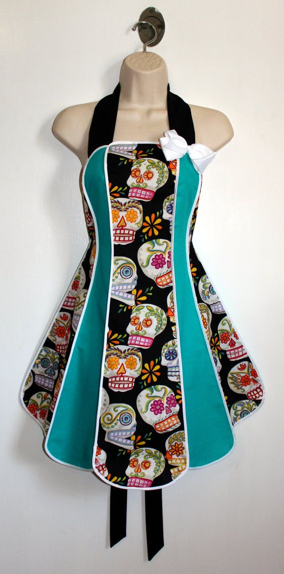 Vintage inspired Calaveras apron  by XOSkeletonCreations, $50.00