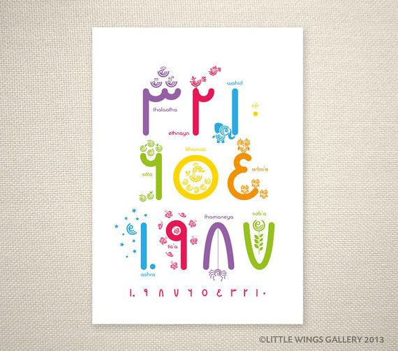 Arabic Numbers 110 Rainbow Islamic Art Print by LittleWingsGallery, $20.00