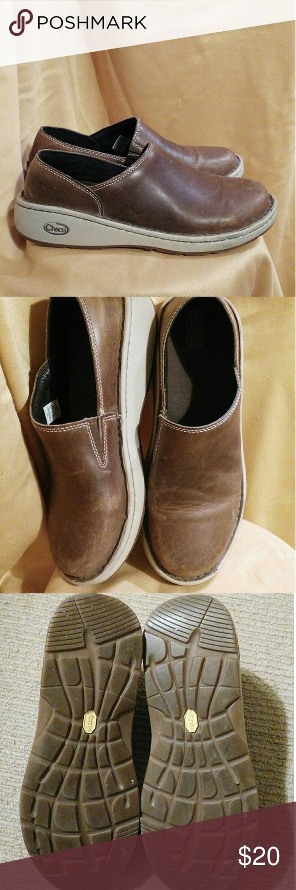 Multi-Tasking Chaco Leather Slip-Ons Sz 9 Beautiful brown leather Chaco flats with great gripping marshmallow soles.  Terrific for bicycling to work and looking good with a mini-skirt and tights or with jeans for walking on slickrock or around the farmer's market. Chaco Shoes Flats & Loafers