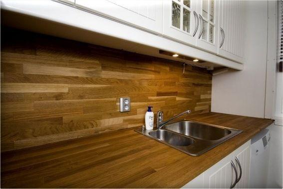 Oiled Oak Backsplash                   credit: Thundafunda [ http://thundafunda.com/interior-design/kitchen-backsplash-ideas/]