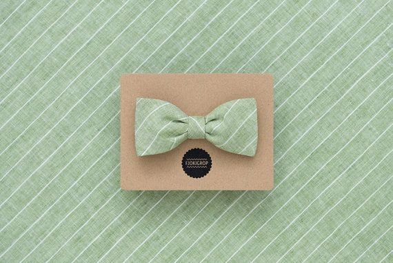Light green striped beach wedding bow tie, light grey linen men's bow tie, earth colors double sided