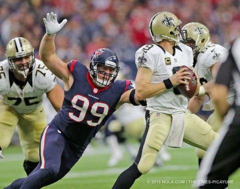 Watt sacks Brees: New Orleans Saints at Houston Texans 2015