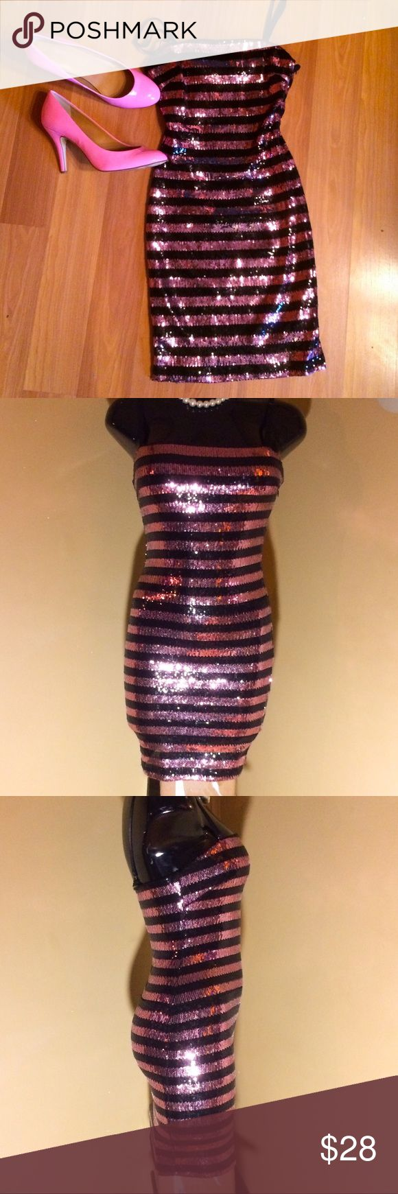Selling this Black and pink striped sequin dress on Poshmark! My username is: tamarc6. #shopmycloset #poshmark #fashion #shopping #style #forsale #XXI #Dresses & Skirts