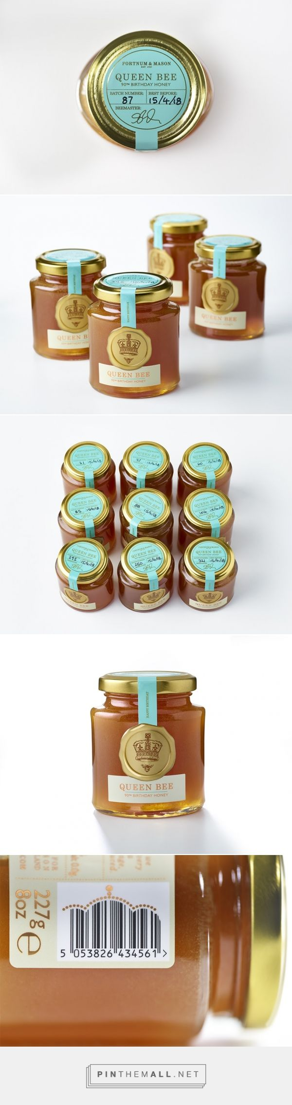 Honey Packaging that's fit for a Queen Bee - designed by DesignBridge (UK) - http://www.packagingoftheworld.com/2016/06/fortnum-mason-queen-bee-honey.html