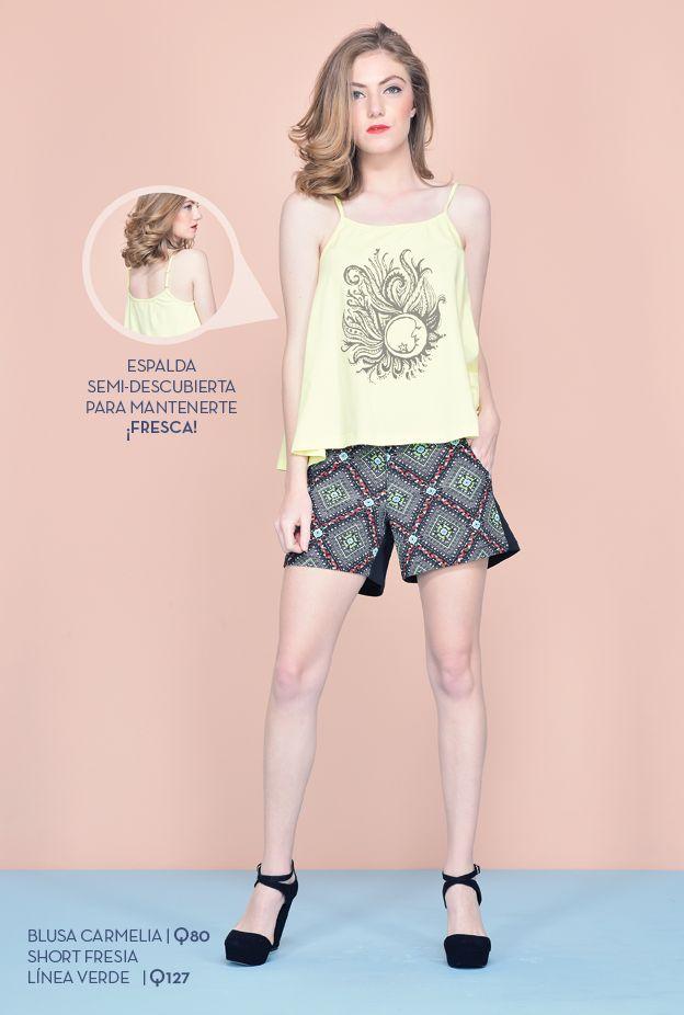 Blusa Carmelia Disponible en colores blanco, gris y amarillo. Tallas: xs - s - m - l - xl Precio: Q80  Short Fresia línea verde Precio: Q127