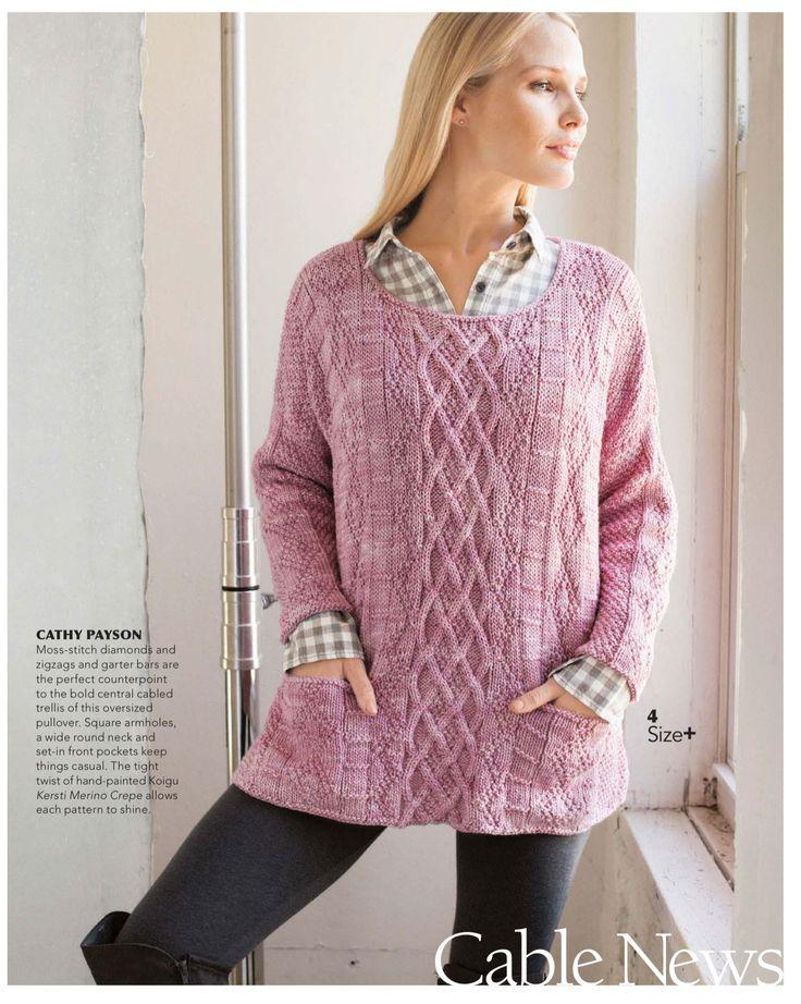 Туника с карманами Cabled Tunic из нового журнала Vogue Knitting зима 2016-2017. Дизайнер Cathy Payson.
