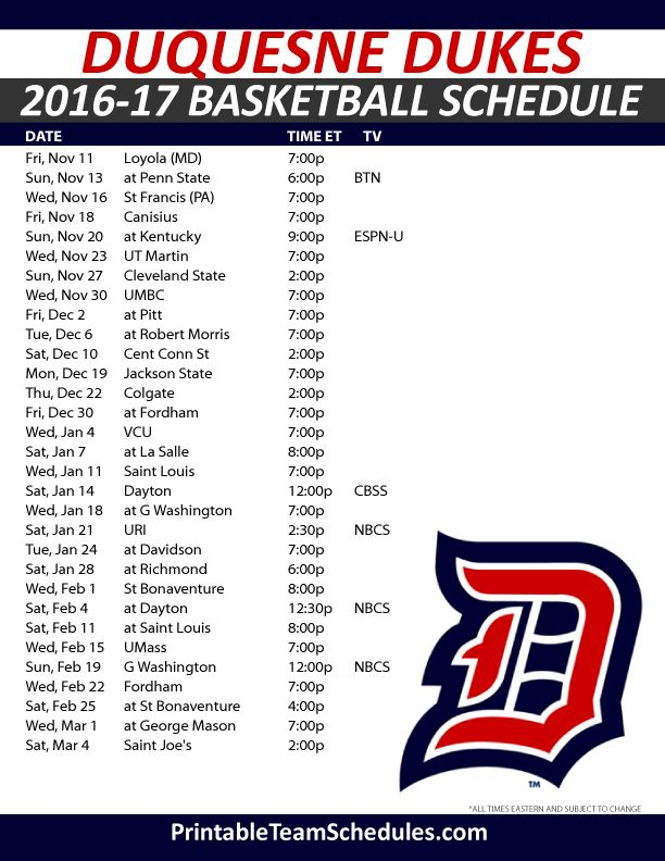 Duquesne Dukes Basketball Schedule 2016-17. Print Here - http://printableteamschedules.com/NCAA/duquesnedukesbasketball.php