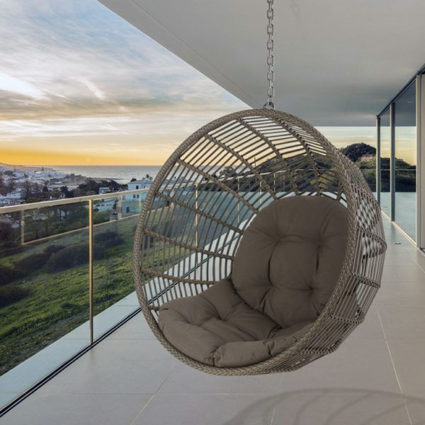 Luna Pod Outdoor Hanging Chair. Sit back, relax and enjoy the view with our fresh take on the pod. The Luna can be found in a Dolphin Grey wicker. It comes standard with a comfy deep-buttoned cushion.