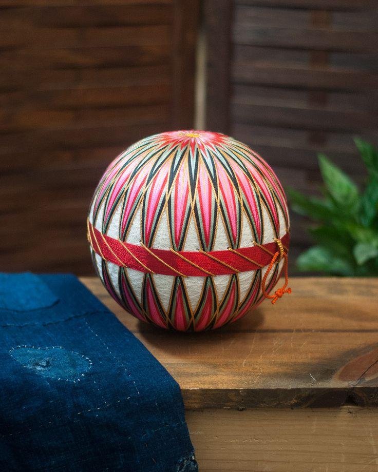 Vintage Temari Ball Medium, Pink