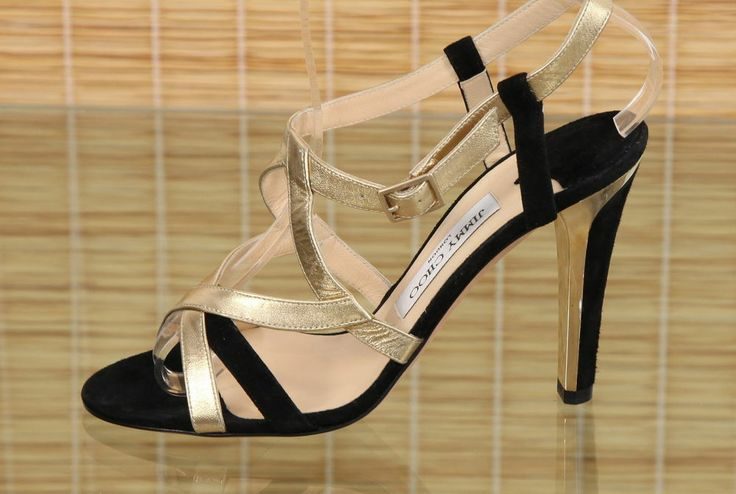 Jimmy Choo Leather Suede Black And Metallic Gold Strappy Sandals Sz 38.5