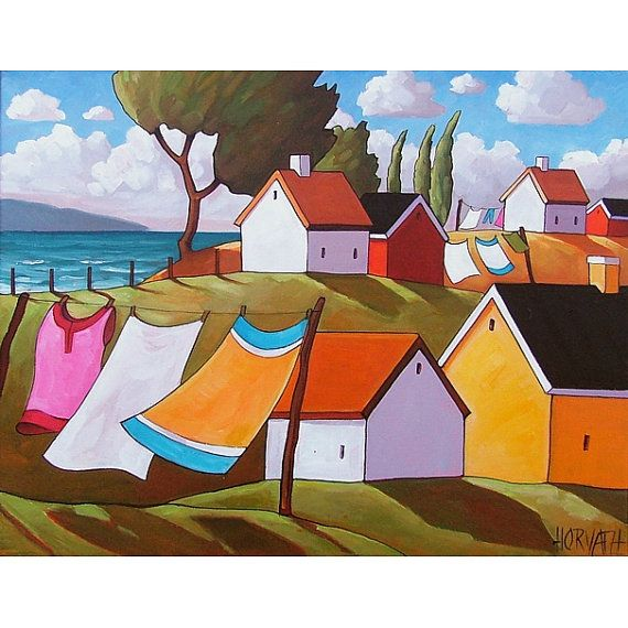 Cottage Seaside Laundry Windy Ocean Trees by C. Horvath Buchanan