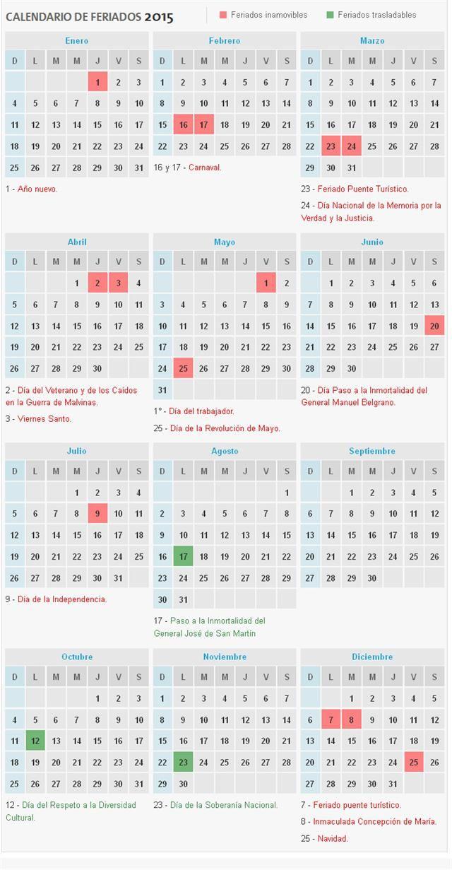El calendario completo, difundido por el Ministerio del Interior, con todos los feriados, feriados puente y fines de semana largo, desde hoy hasta diciembre