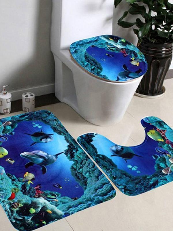 3 Pcs Creative Home Carpet Underwater World Toilet Mat Cartoon House Bathroom Cotton Mats