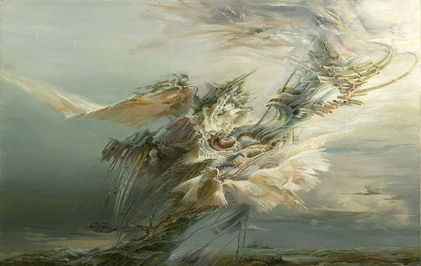 TAKEOFF by SERGEY GUSARIN.   Bellongs to the Gallery RUSSIAN ARTISTS NEW WAVE.   Takeoff - some substance is arising from Earth and getting speed, taking off Earth and rapidly rushes to the unseen distance. #RussianArtistsNewWave #painting #OriginalPainting #ArtForSale #SergeyGusarin  #InteriorDesign #ArtForHome #OriginaPaintingForSale #FantasyArt