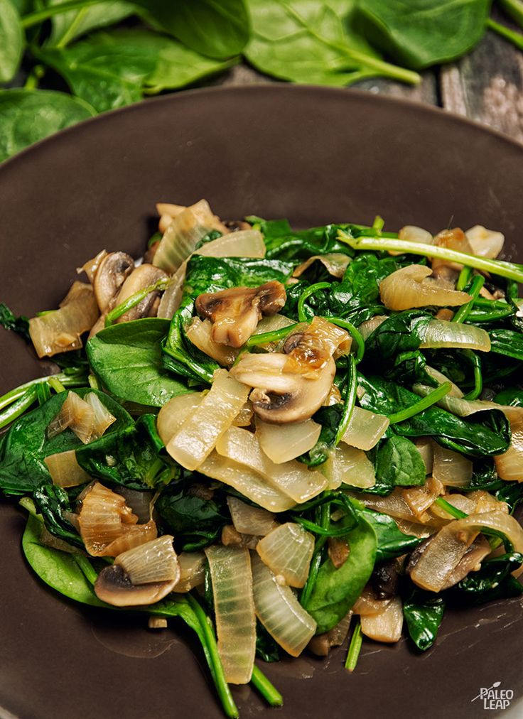 Sautéed spinach and caramelized onions - a great side dish to pair with any protein #clean #recipes #eatclean #easy #recipe
