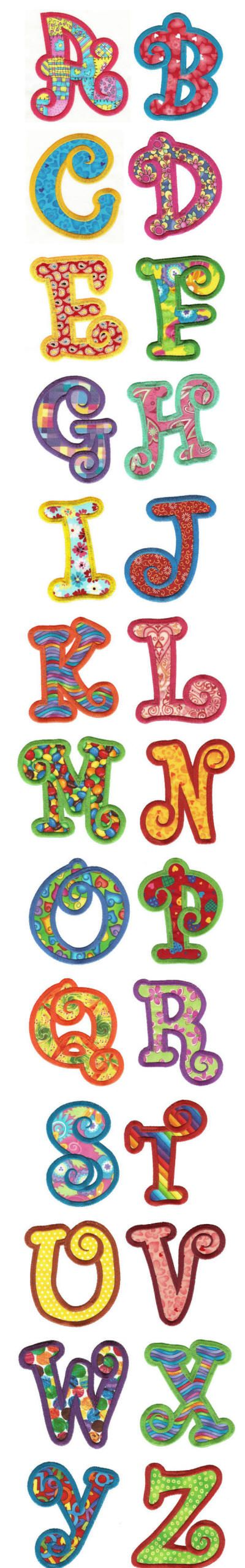 Embroidery | Machine Embroidery Designs | Chunky Curls Applique Alphabet - Designs by Juju