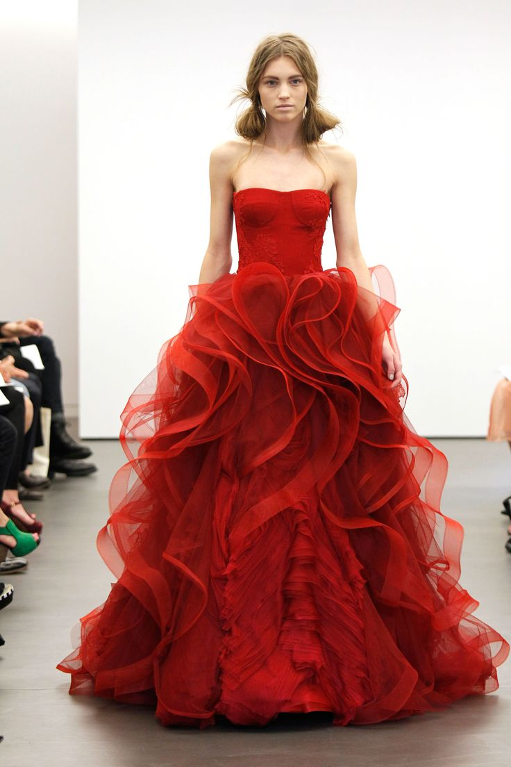 I would absolutely wear a red dress-love the ruffles-Incredible red wedding dress from Vera Wang (BridesMagazine.co.uk)