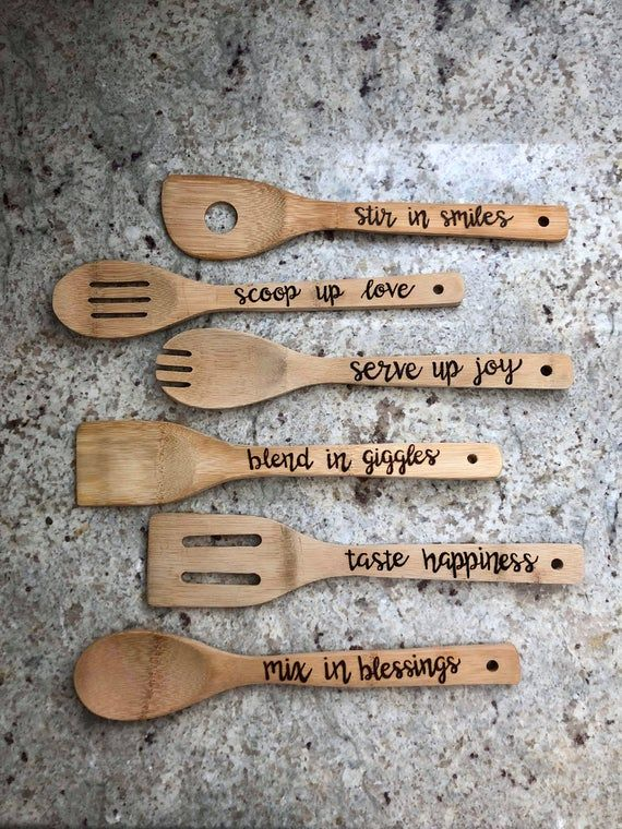 Funny Sayings Spoon Set Stir the pot spoon Novelty Spoon Set Made with love spoon About to stir up some... Wood Burned Spoons