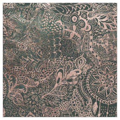 Dark green watercolor rose gold dreamcatcher fabric - christmas craft supplies cyo merry xmas santa claus family holidays