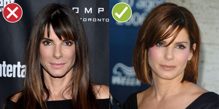 Lighting deficiencies aside, Left Sandra comes off more tired and haggard than Right Sandra because her hair's weighing her features down. A short cut can act as a facelift — just beware the pouf-y pixie, which reads soccer mom.