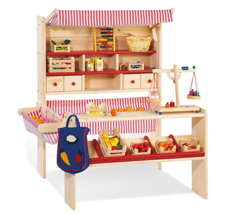 Lucy Wooden Play Shop / Market Stall / Supermarket with Awning (Red, White, Natural Birch)