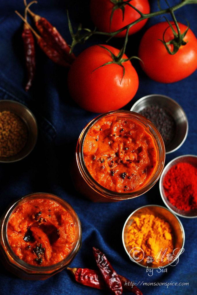 Instant Andhra Tomato Pickle ~ Instant Andhra style tomato pickle flavoured with spices, tamarind and garlic tempering  Recipe: http://www.monsoonspice.com/2014/01/instant-andhra-tomato-pickle-recipe.html
