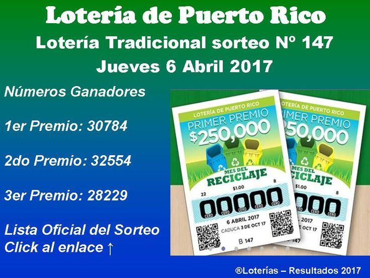 #LoteriaTradicional numeros ganadores del Jueves 6 Abril 2017. Consulta la *Lista Oficial del sorteo Nº 147*. ¡Click Aqui!