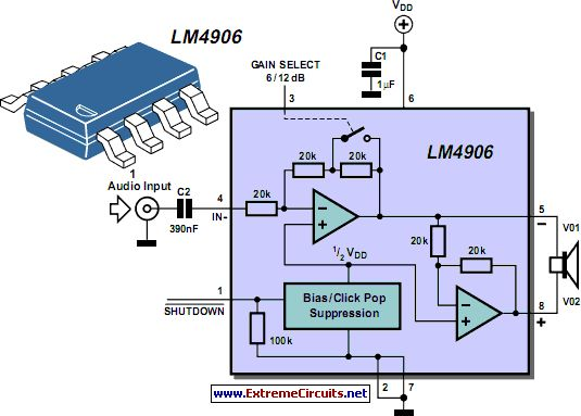 LM4906 Boomer Audio Power Amplifier circuit project