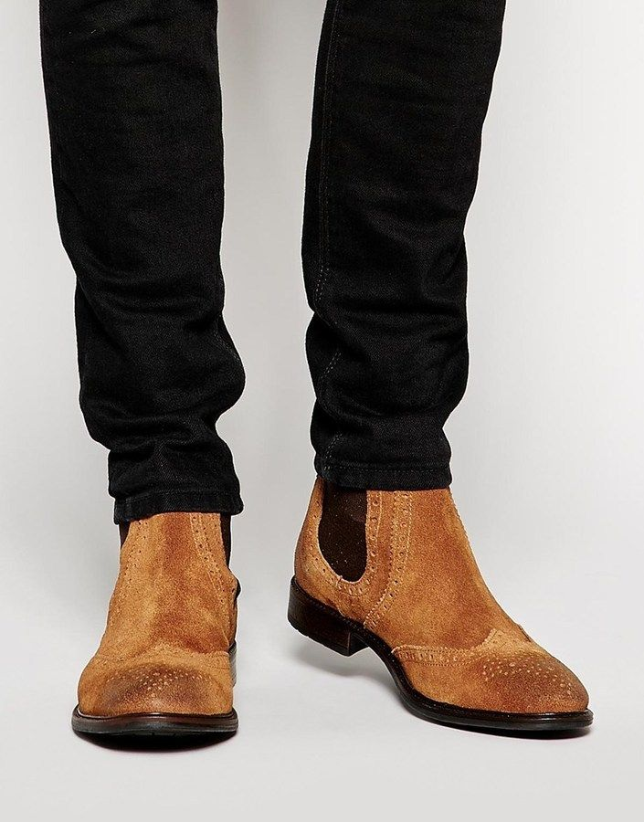 $99, Tan Suede Chelsea Boots: Asos Brand Brogue Chelsea Boots In Suede. Sold by Asos. Click for more info: https://lookastic.com/men/shop_items/294874/redirect