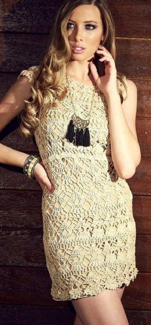 Кружевное мини-платье, связанное крючком - для молодых и смелых. Схема вязания кружевного платья крючком.