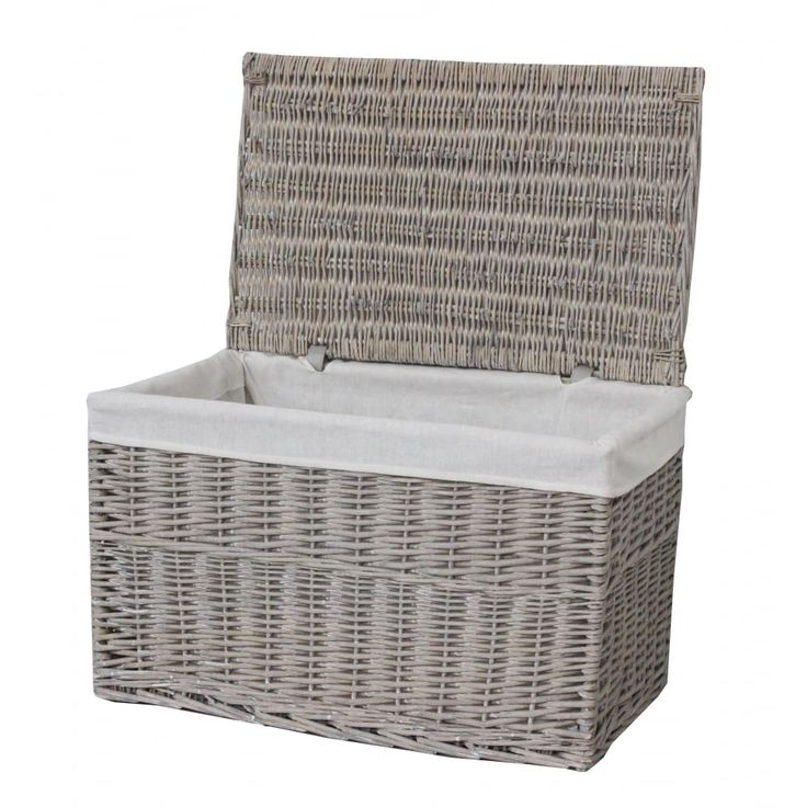 Grey Wash Wicker Storage Trunk Basket