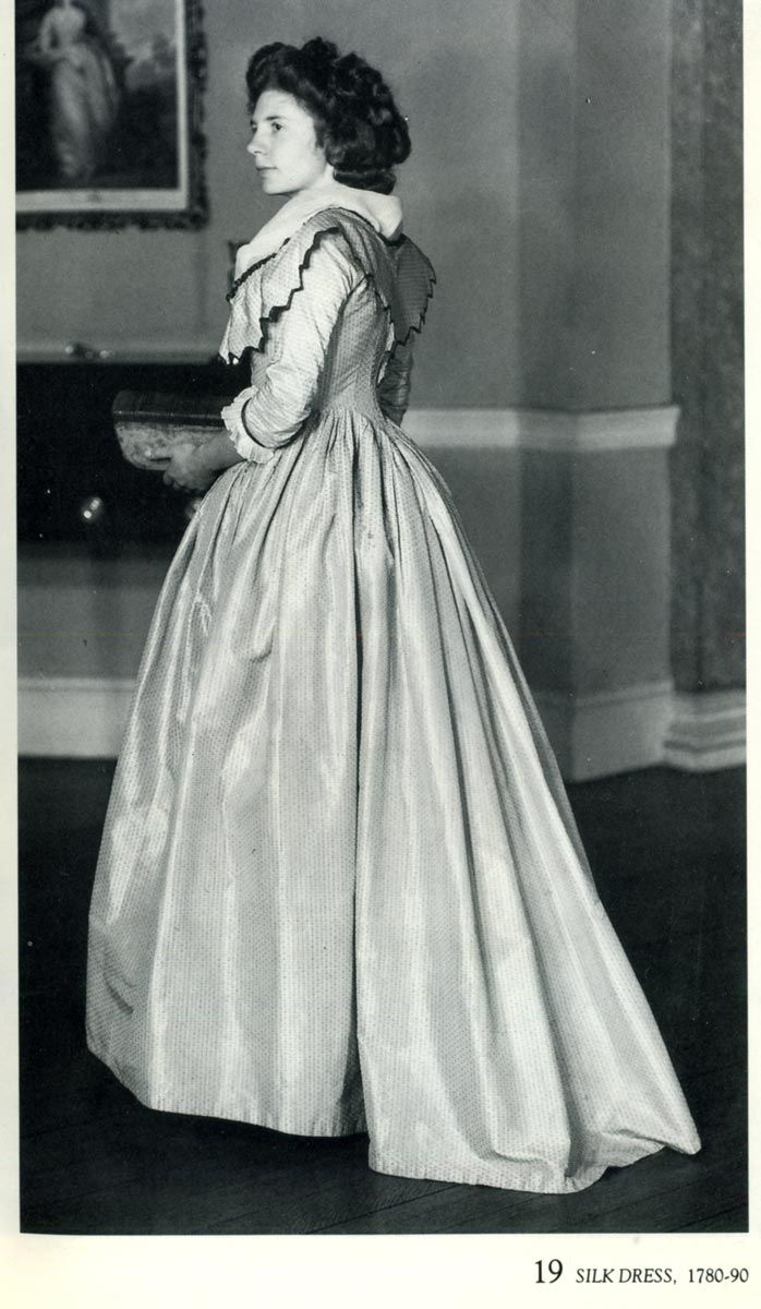 Silk dress, 1780-90.