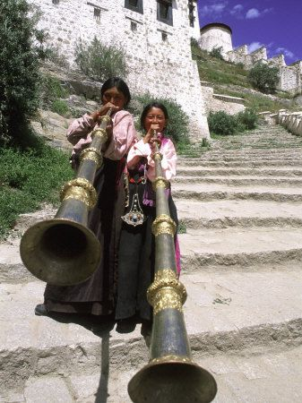 Girls Playing Horns, Potala Palace, Lhasa, Tibet