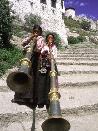 Girls Playing Horns, Potala Palace, Lhasa, Tibet