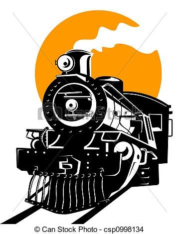 Drawing of Steam train - Illustration on rail travel csp0998134 ...