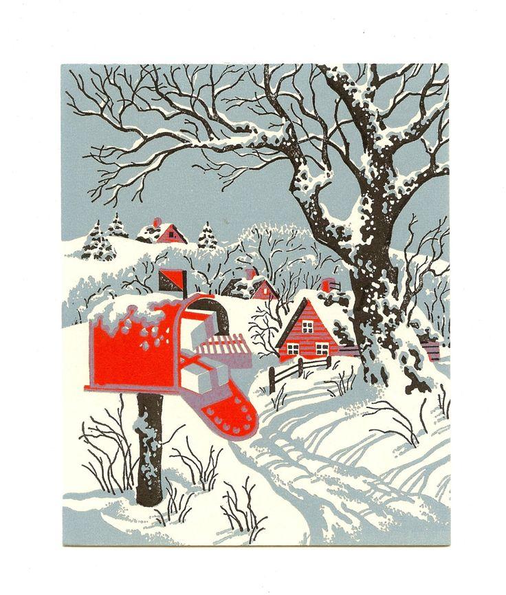 Vintage UNSIGNED Mid Century Snow Scene by GlitteringPine on Etsy