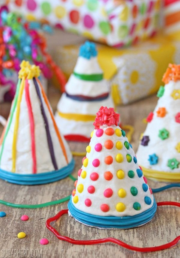 How cute are these? Birthday Party Hat Cakes | From SugarHero.com