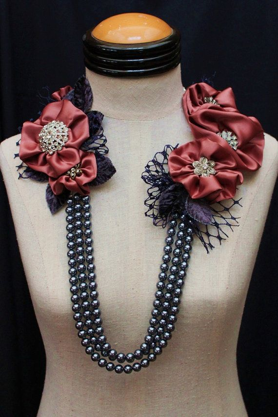 FOR THE ROSES Statement Neckpiece in Navy Rose by carlafoxdesign, $625.00