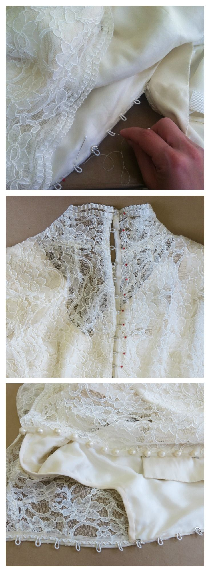 Sewing the bridal buttons (and other couture finishing details) to Caitlin's custom wedding dress / vma.