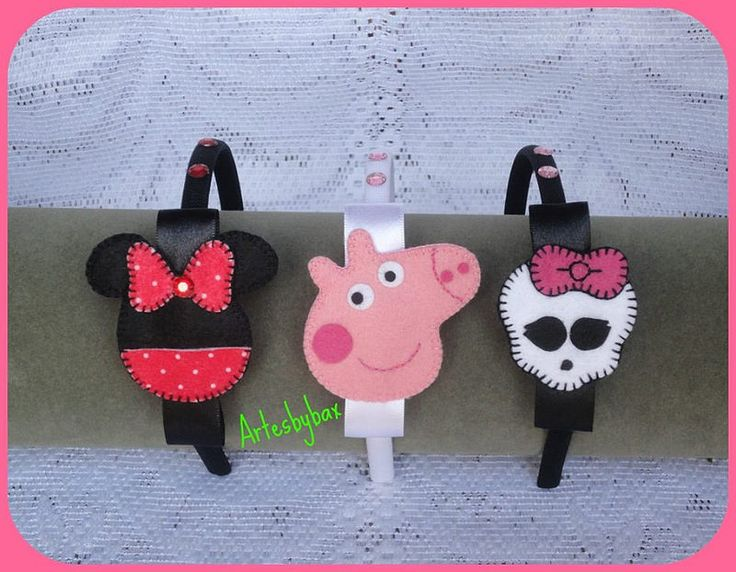Tiaras personagens - Minnie, Peppa Pig e Monster High - feltro