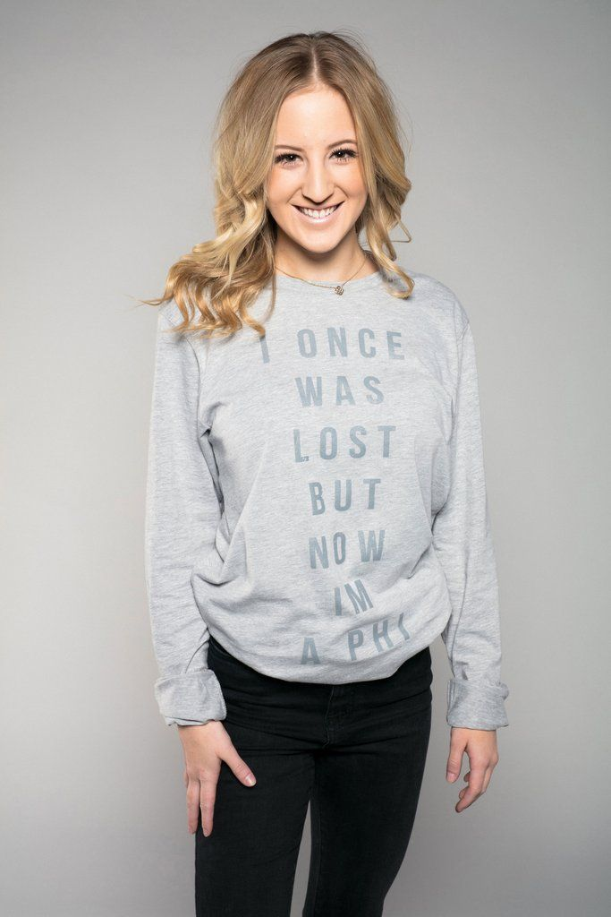 You've found Alpha Phi, and now you've found your new favorite Athletic Heather long sleeve | Featuring a tonal look with a lightly distressed Cool Grey ink. Model is wearing a size medium.