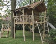 we willen graag een speeltoestel in de tuin. Maar waar??? Nou daar waar die boom staat.... tja dan is de vraag: gaat de boom om of bouwen we er een hut aan/omheen???