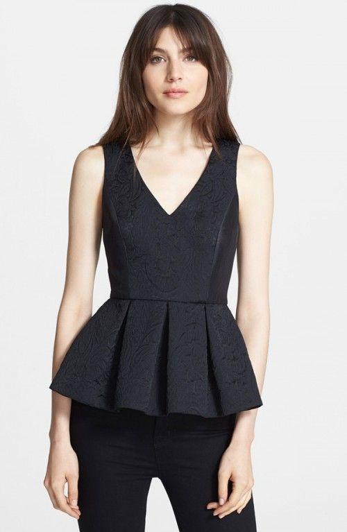 Tibi Lia Jacquard Peplum Top | Clothing