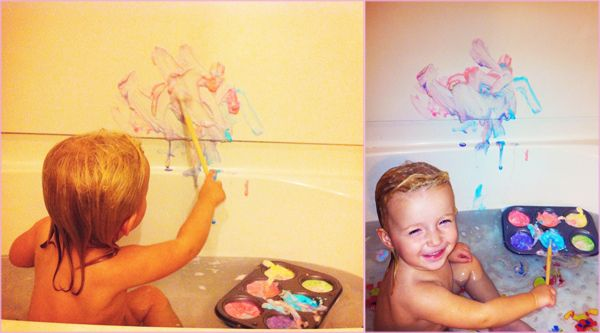 Never again!!  bathtub painting with shaving cream - the water turned black from all the food dye mixed together.