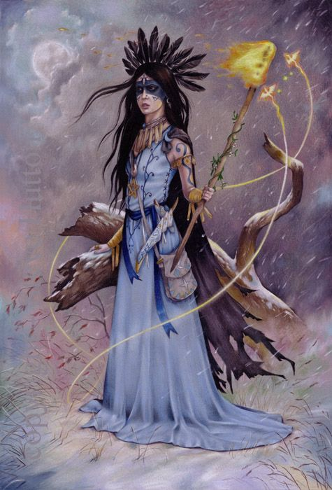 'Aphra DeSwift' of Wildwood-coven wearing the colours of season Moon-Frost. Aphra wears her best finery and raven feathers, and she carries a torch to light the winter solstice bonfire, Fire-Fays are drawn to its light.
