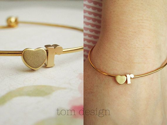 I want a heart with the letter g. I love this guys stuff! DOUBLE CHARM Tiny Gold Letter Bangle Bracelet Gold by TomDesign, $18.00
