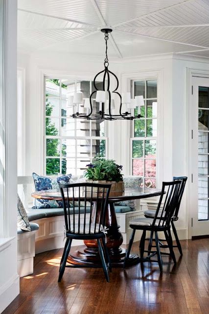 Styled by StacyStyle for @New England Home. Photo by Sam Gray. Blue and White breakfast area.