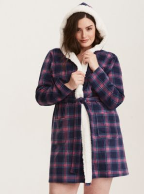 Sleep Plaid Fleece Robe in Purple