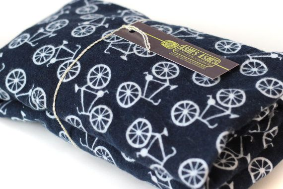 Bicycle Print Flannel Fitted Crib Sheet In Navy Fits