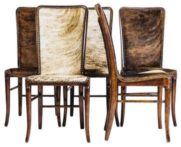 High Back Cowhide Chairs - Set of 5 - $3,250 Est. Retail - $1,250 on Chairish.co  dining chairs and benches